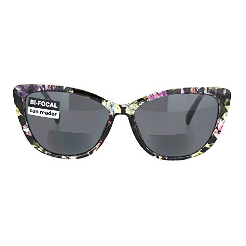 Womens Bi-focal Gothic Cat Eye Reading Glasses Reader Lens Sunglasses Flower +2.5