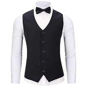 WANNEW Mens Suit Vest Tuxedo Vest for Men with Bow Tie Sets