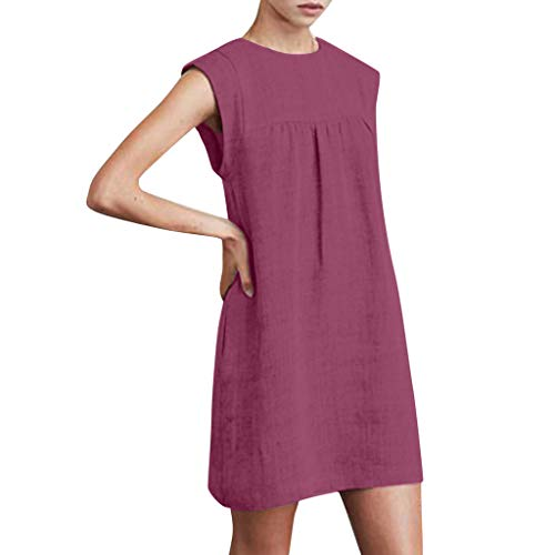 (FRana Dresses for Women Summer Sleeveless Cotton and Linen Casual Tops Solid Dress Beach Dresses Straight Wine Red)