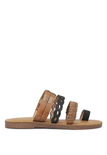 London Rag Women's Single Toe Flat Slip-on Sandals Black 55a0vHgaVQ