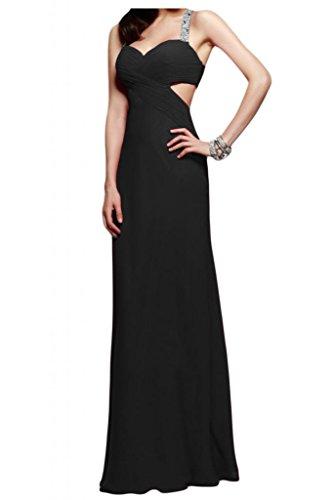Toscana novia abendmode rueckenfrei vestidos de noche de gasa largo vestido de fiesta duro partido de la bola negro