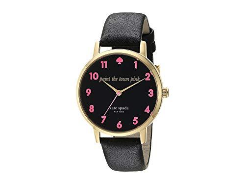 Kate Spade New York Women's Metro Watch, 34mm, Black/Pink, One Size