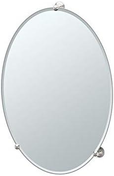 Gatco 1566 Oldenburg Large Oval Mirror, 2-in L x 19.5-in W x 26.5-in H, Satin Nickel