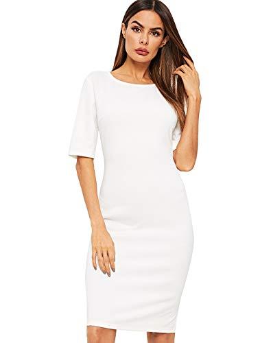 SheIn Women's Short Sleeve Elegant Sheath Pencil Dress Small White