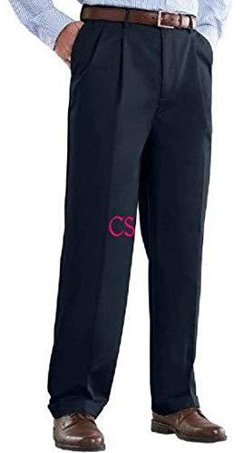 Croft & Barrow Mens No Iron Classic Fit Pleated Front Comfort Waist Khaki Pants, Navy Blue -