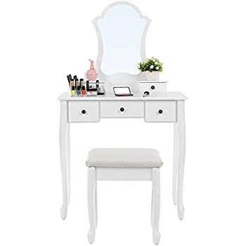 songmics vanity set with lotus shaped mirror makeup dressing table cushioned stool 5 drawers white urdt08w