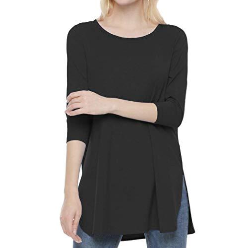 Noir Couleur Manches LULIKA Dames De Shirt Solid en T Side Longues Mode Loose Confort Fourche Populaire 4Zpx4q