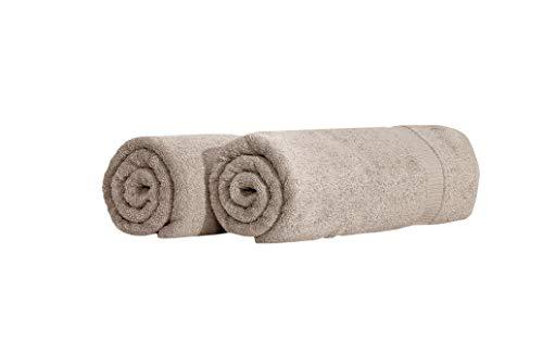 SALBAKOS Turkish Luxury Hotel & Spa 35x70 Bath Sheet Set of 2, Turkish Cotton, Organic, Eco-Friendly, Taupe