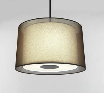 - Robert Abbey Z2183 Pendants with Bronze Fabric Inner and Ascot White Outer Shades, Deep Patina Bronze Finish