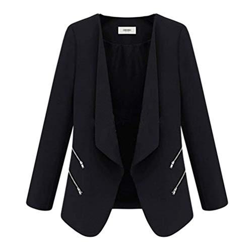 Camicia Donna Autunno Moda Leisure Suit Tasche Laterali Con Cerniera Colori Solidi Bavero Manica Lunga Business Giubotto Unico Confortevole Coat Schwarz