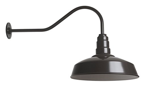 The ABBA Standard 200 Watt Barn Light Kit | Barn Lighting Steel Vintage Shade and Gooseneck | 16 Inch Reflector and 23 Inch Gooseneck (Dark Bronze)