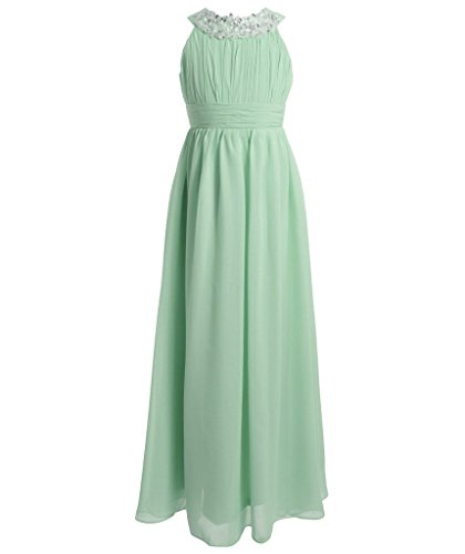 FAIRY COUPLE Girl's Round Neckline Ruched Bust Flower Girl Party Dress K0151 4 Mint (Green Fairy Dress)