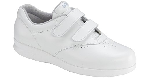 SAS Women's Me Too Velcro Strap Leather Walking Comfort Shoes (9.5 (W) Wide, White)