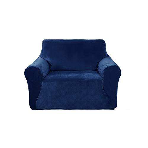 Deconovo Stretch Strapless Sofa Slipcover Solid Color Premium Velvet Plush Sofa Cover for 1 Cushion Sofa Navy Blue