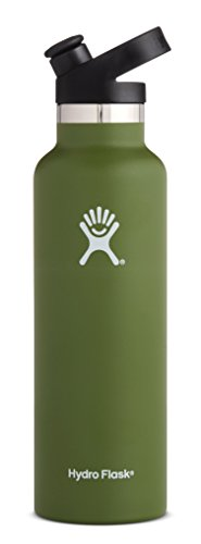 Hydro Flask 21 oz Water Bottle - Stainless Steel & Vacuum Insulated - Standard Mouth with Sport Cap - Olive