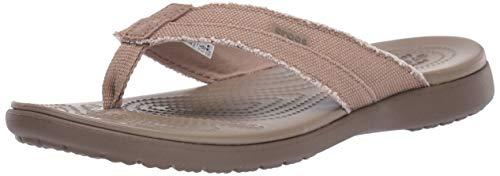 (Crocs Men's Santa Cruz Canvas Flip Flop, Khaki/Walnut 7 M US)