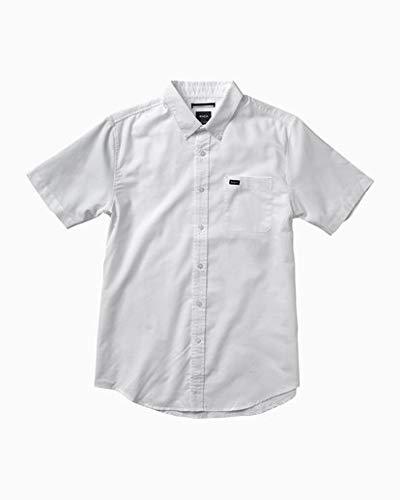 (RVCA Men's Thatll Do Oxford Short Sleeve Woven Shirt, White Large)