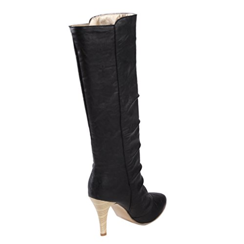 ENMAYER Mujeres PU Material Alto Talones Rodilla Alta medio-becerro stiletto nieve invierno botas Negro