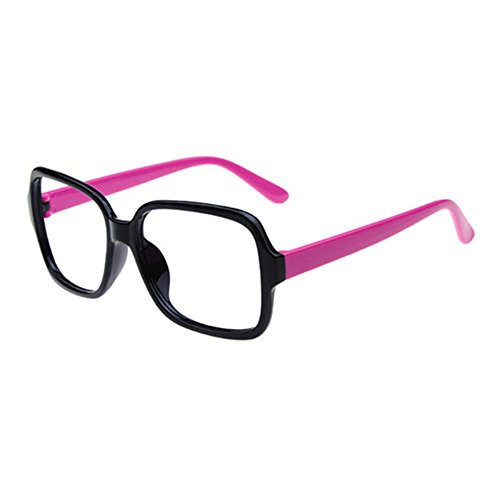 FancyG Retro Classic Fashion Style Square Shape Glass Frame NO LENSES Eyewear - Black with Fuchsia - Glasses Without Lenses Fashion