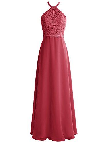 Bbonlinedress Vestido De Fiesta Mujer Largo Halter Encaje Gasa Espalda Descubierta Rojo Ocscuro