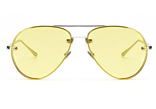 Oversized Aviator Sunglasses Vintage Retro Gold Metal Frame Colorful Lenses 62mm (Yellow, 62mm)