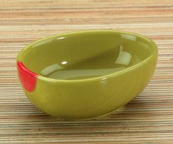 Collectible Fruit Ceramic Glass Olive Dipping Bowl, Set of 2