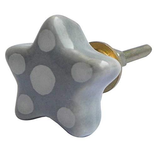 (Indianshelf Handmade 10 Piece Ceramic Grey Dotted Star Drawer Pulls Artistic Rust Free Wardrobe Knobs)