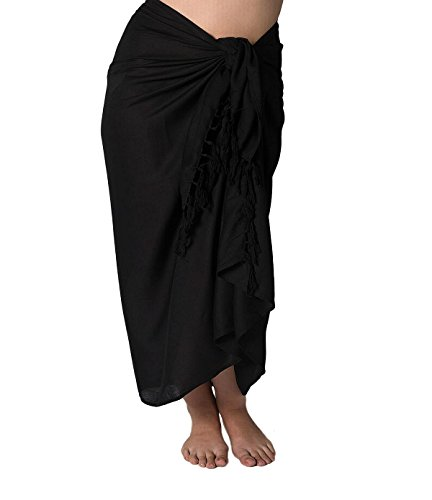 Plus Size Long Swimsuit Sarong Cover up in Black Simple Edge Without Fringe