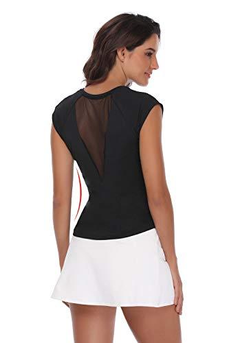 32e-SANERYI Women's V-Neck Pullover Short Cap Sleeve Sports Shirt Quick-Drying Tees-km Black ()