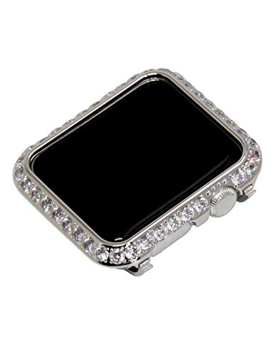 - Callancity 42mm Crystal Metal Case Plated Platinum Rhinestone 3.0mm Big Diamond Face Cover Compatible with Apple Watch Series 3/2/1 for Men/Women (Platinum, 42mm)
