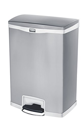 Step Wastebasket - Rubbermaid Commercial Slim Jim Stainless Steel Front Step-On Wastebasket, 24-gallon, White (1902004)