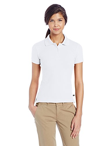 Lee Juniors Plus Size Stretch Pique Polo, White, XX-Large