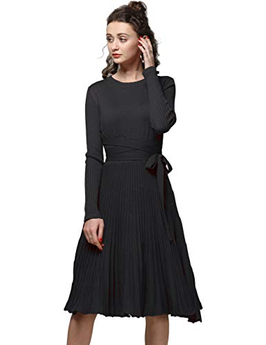 FINCATI Knee Length Sweater Dress 2018 Spring Autumn Cashmere Belt Fitted Waist Pleated Dresses Black (Black, L) ()