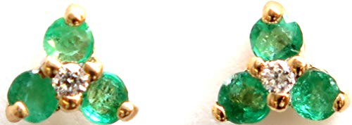 14k Yellow Gold with Genuine Emerald=0.24CT and Diamond=.02 Stud - Emerald Real Genuine