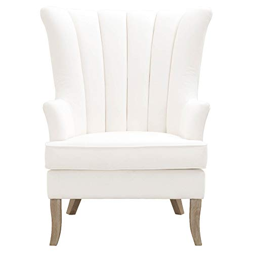 (Star International Furniture Fabric Upholstery Club Chair with Channel Back Design, White)