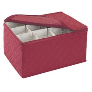 Stemware Storage FOR 12 - Crimson Quilted Canvas (Crimson)11.25
