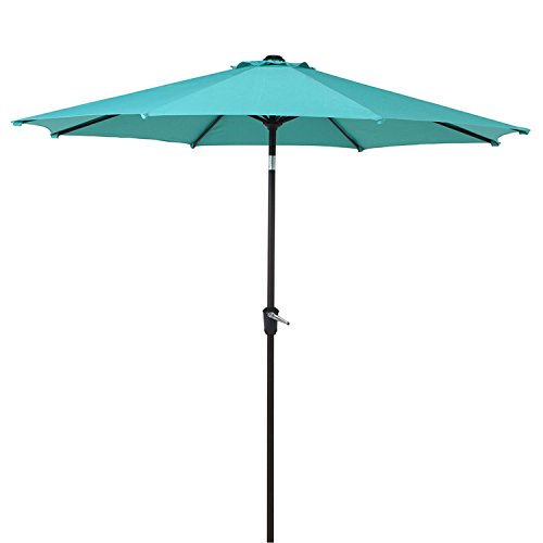 LCH 9 Ft Outdoor Patio Market Table Umbrella – Garden Parasol with 8 Sturdy Ribs, Lawn Canopy Umbrella for Backyard, Porch and Pool, Turquoise For Sale
