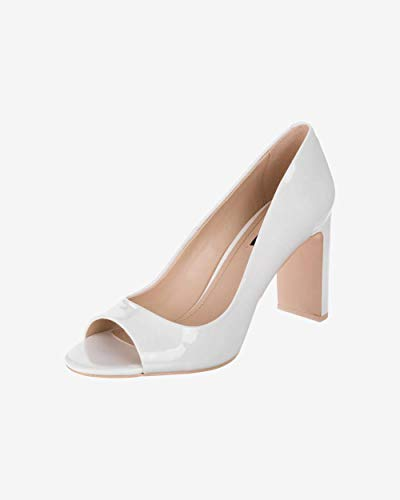 Dkny Womens Leather - DKNY Womens Jade Leather Peep Toe Classic Pumps, White, Size 7.5