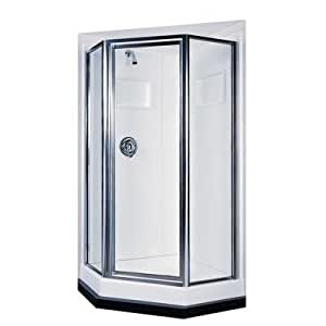 Swanstone SD 36NEO 081 36 Inch Obscure Glass Neo Angle Shower Door, Chrome  Finish     Amazon.com