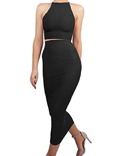 BEAGIMEG Women's 2 Piece Outfit Bodycon Spaghetti Strap Crop Top Club Long Dress Black