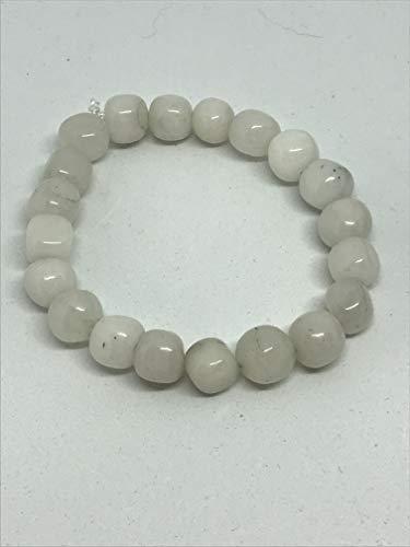 natural snow quartz gemstone cubes beaded stretch bracelet