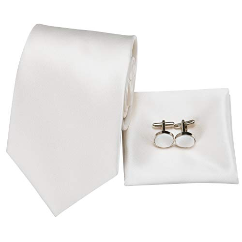 - Hi-Tie Men White Solid Tie Pocket Square Cufflinks Set Pure Color Necktie Wedding Ties Gift Box