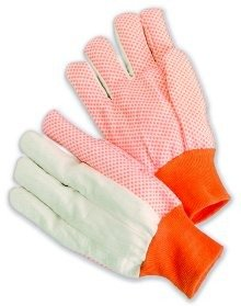 Workforce Industrial Men's Orange Dots Cotton Canvas Glove, 10 Ounces, Knit Wrist - 12 Per Package ()
