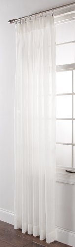 Sheer Pleated Pinch Drapes - Stylemaster Splendor Pinch Pleated Patio Window Panel, 84 inches length by 96 inches width, White