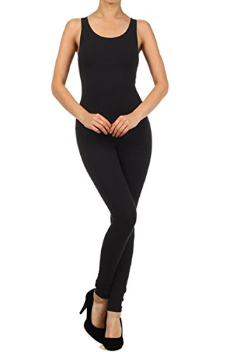Leggings Depot Cotton Spandex Jersey Tank Unitard Made In USA (3X, Black)