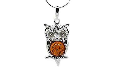 925 Sterling Silver Owl Pendant Necklace with Genuine Natural Baltic Cognac Amber. Chain included (Unique Amber Pendant For Women)