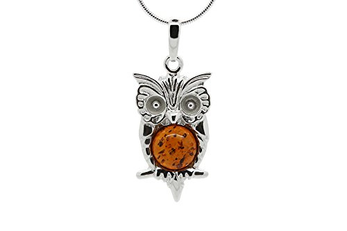 925 Sterling Silver Owl Pendant Necklace with Genuine Natural Baltic Cognac Amber. Chain (Cognac Baltic Amber Pendant)