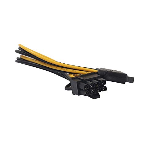 (Finedayqi ❤ 15Pin SATA Male to 8pin(6+2) PCI-E Male Video Card Power Supply Adapter Cable)