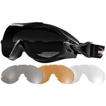 4ba3d60c3b Amazon.com  Bobster Phoenix OTG Interchangeable Motorcycle Harley Goggles -  Black Anti-Fog Smoked