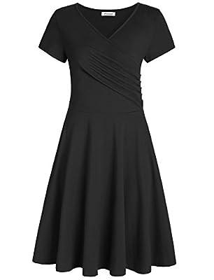 Pintage Women's Surplice V Neck Knee Length Wrap Dress